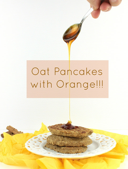 oat pancakes with orange and honey served