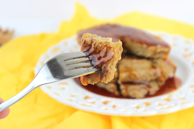 oat pancakes with orange, honey and cinnamon served