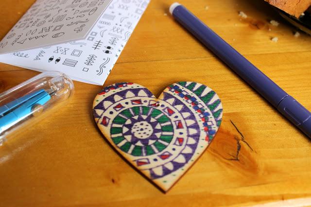 my colored mandala wooden heart